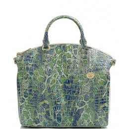 Women Melbourne Collection Large Duxbury Crocodile-Embossed Dome Satchel Bag Green Viper 20141041