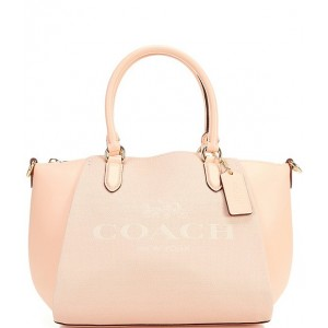 Womens Horse and Carriage Print Elise Satchel Bag Faded Blush/Gold 20114579