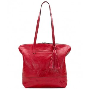 Womens Leather Brights Collection Rochelle Tassel Satchel Bag Red 05807433