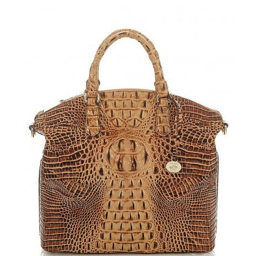 Womens Melbourne Collection Large Crocodile-Embossed Duxbury Satchel Bag Toasted Almond 05275213