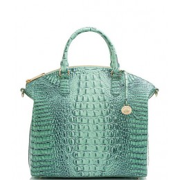 Womens Melbourne Collection Large Duxbury Crocodile-Embossed Dome Satchel Bag Biscay 04088274