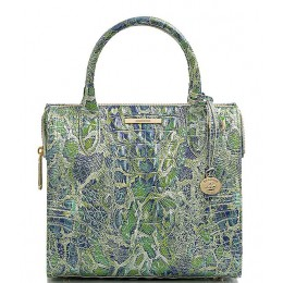 Women's Melbourne Collection Small Caroline Crocodile-Embossed Leather Satchel Bag Green Viper 20142940