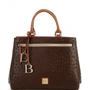 Womens Ostrich Collection Zip Satchel Bag Brown Tmorrow 20121880